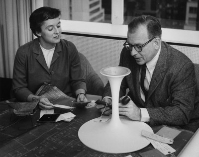 Eero  Saarinen and Florence Knoll working on a Tulip chair.