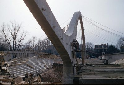 Construction of the David S. Ingalls Hockey Rink, Yale University, New Haven, Connecticut, circa 1959