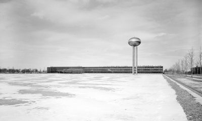 Water tower and frozen water feature, General Motors Technical Center, Warren, Michigan, 1945