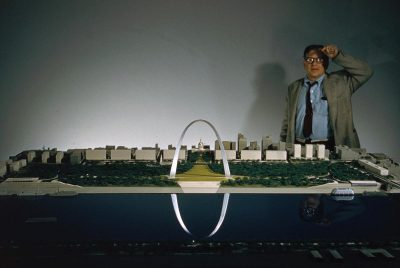"Eero Sarinnen working on a model of the 630-foot high ""Gateway to the West,"" the Arch of St. Louis."