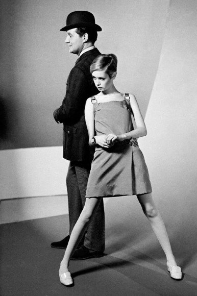 Twiggy and Patrick Macnee from the sixties spy-fi British television series The Avengers.