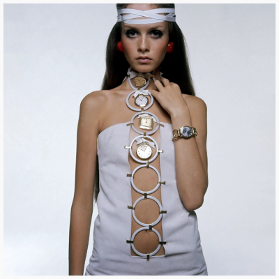 twiggy clock surreal white dress