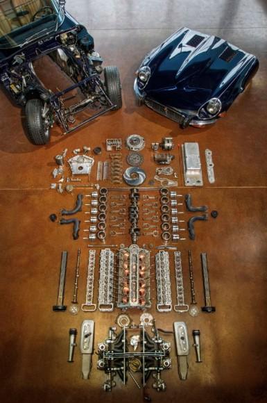 jaguar parts neatly spread on the floor