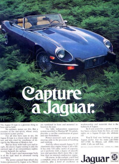 jaguar e type old magazine ad