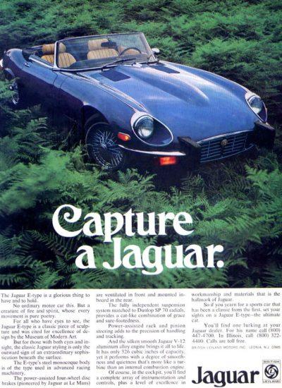 jaguar e type old magazine ad