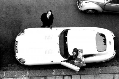 John Barry and jane birking riding a jaguar cenital view