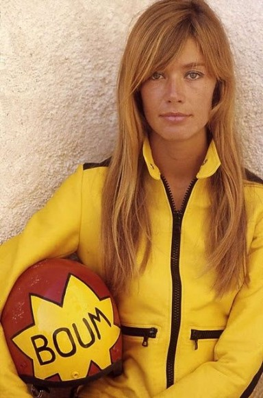 francoise hardy yellow jumper red helmet