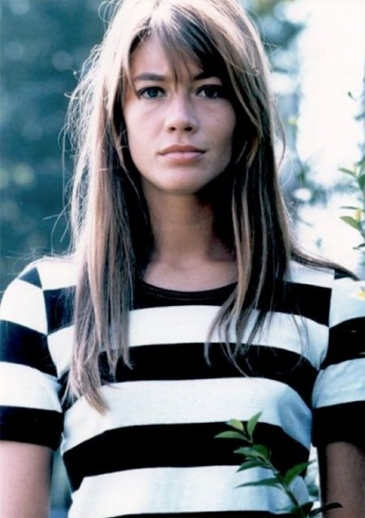 francoise hardy black and white stripped tshirt