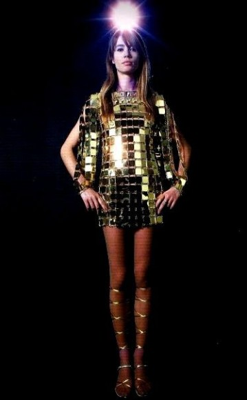 francoise hardy in a golden dress by paco rabanne
