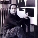 victor vasarely op-art artist at work in his studio
