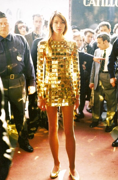 francoise hardy in a paco babanne golden dress