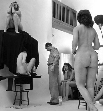 "USA. New York City. 1951. Philippe HALSMAN making Salvador DALI's ""In Voluptate Mors."""