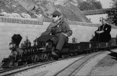 ward kimball with salvador dali on walt disney's carolwood pacific railroad