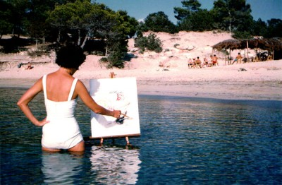 dolores boagard painting in the water
