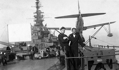 Robert bogard and Schimmel, and stolen Japanese truck, USS South Dakota, 1945