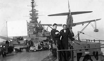 Robert bogard and Schimmel, and stolen Japanese truck, USS South Dakota, 1945