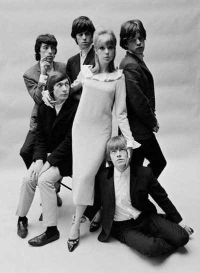Patti Boyd in a Mary Quant dress with the Rolling Stones, photo John French