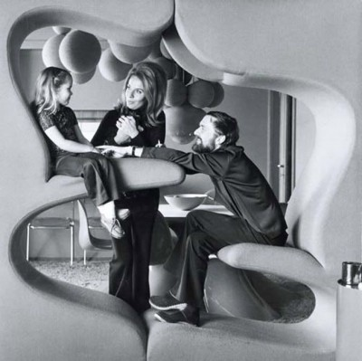 family on a verner panton integral furniture design
