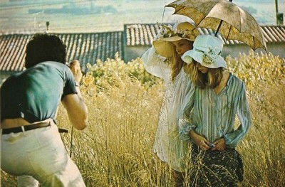 david hamilton shooting 2 models with umbrellas in the french country side