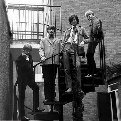60s british rock band the yard birds posing on a stair outdoors in london