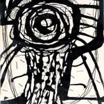 """A Flower"" (1952) by Yayoi Kusama. Ink on paper artwork"