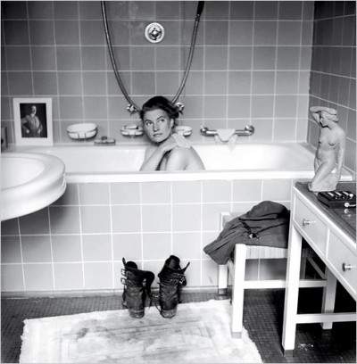 lee-miller taking a bath in hitler's bathroom after the liberation of germany