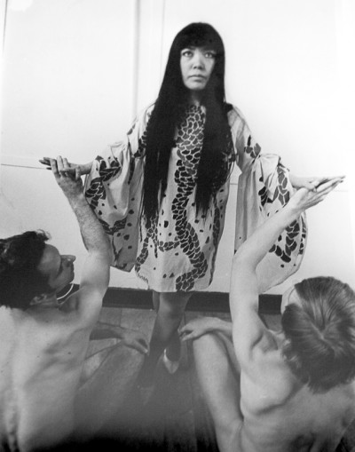 yayoi kusama adored by two naked female models