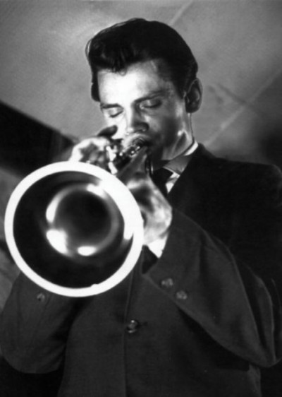 baker playing trumpet