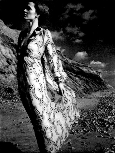 Ossie Clark model on the beach
