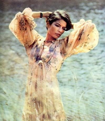 Bianca Jagger wearing a dress by Ossie Clark