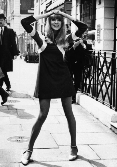 "Personalities Fashion. British model Patti Boyd pictured in one of top designer Ossie Clark's creations, a dress called ""Hoopla"" of brushed tricel with cut circles."