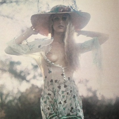 Treeka Delight in a gorgeous chiffon Ossie Clark:Celia Birtwell dress. Photographed by Earl Miller for Penthouse, August 1974