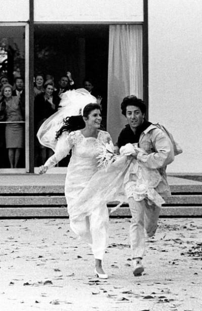 GRADUATE+HOFFMAN+WEDDING scene couple runs away