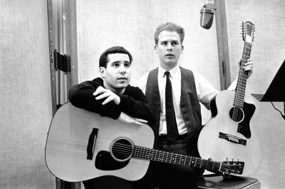 Simon & Garfunkel in the recording studio with guitars