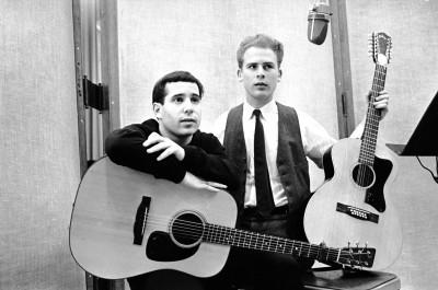 Simon & Garfunkel in the recording studio with guitars