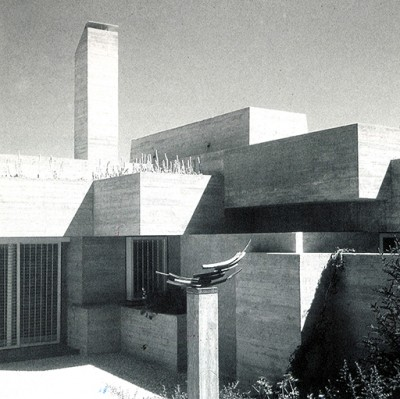 Black and withe photo of a building designed by Spanish architec javier Carvajal in the Brutalism style in the 60s.