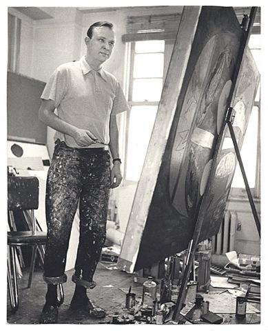 robert motherwell at work in his studio