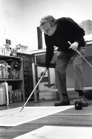 robert motherwell at work in his studio