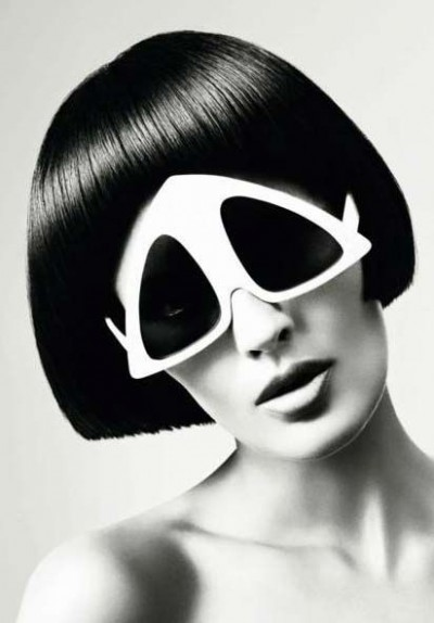 Vidal Sassoon hair cut wearing space era sun glassess