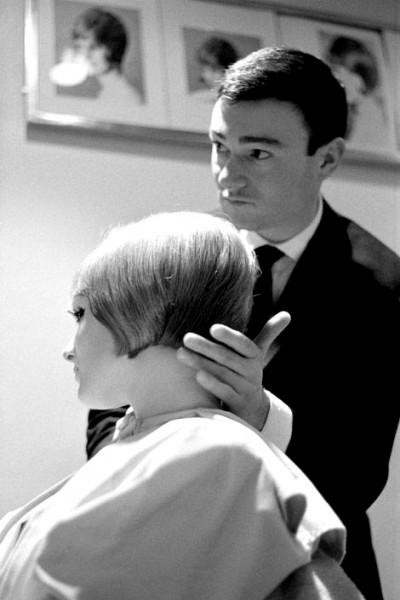 Vidal Sassoon at work in his hair saloon