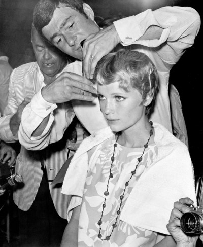 "Mia Farrow receiving her iconic hair cut from Vidal Sassoon for ""Rosemary's Baby"