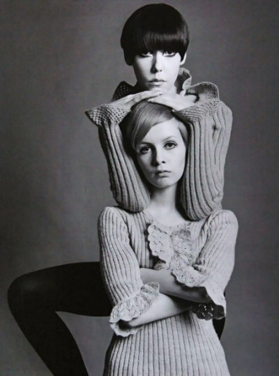 60s top model peggy moffitt and twiggy with vidal sassoon haur cuts