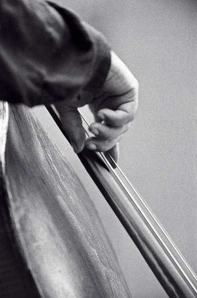 charles mingus playing, hand detail close up