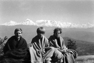Gary Snyder, Peter Orlovsky, Allen Ginsberg, Lama Govinda near Kausani, India,Himalayan peaks Trisul, Nanda Devi and Nanda Kot 1962