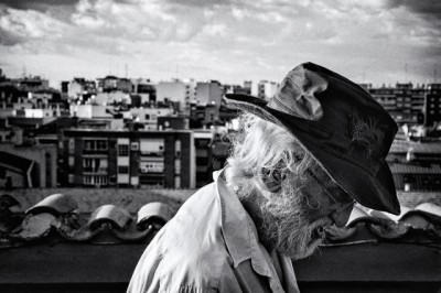 spanish abstract artist manuel calvo in the rooftop of his studio in madrid