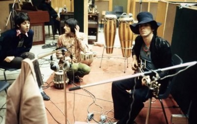 Keith Richards, Paul McCartney and Stash De Rola at Olympia Studios in a recording session, London