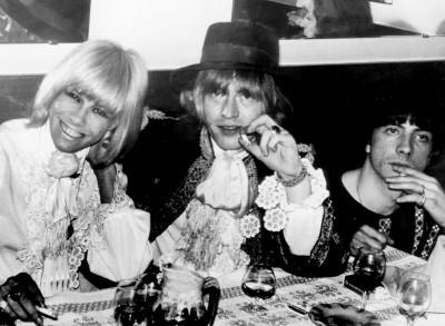 stash de rola, anita pallemberg and brian jones sitting ata table having dinner