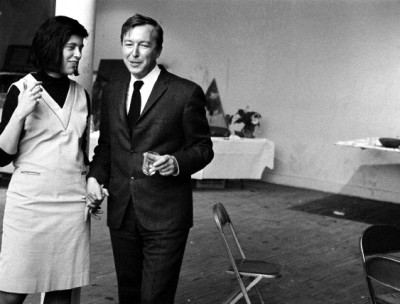 1966 --- Susan Sontag and Jasper Johns at a loft party in New York City