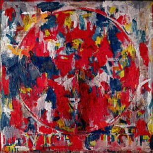 LEE241037 Device Circle, 1959 (oil on canvas) by Johns, Jasper (b.1930); Private Collection; (add.info.: exhibited at the Venice Biennale in 1964;); American,  in copyright  PLEASE NOTE: This image is protected by the artist's copyright which needs to be cleared by you. If you require assistance in clearing permission we will be pleased to help you.