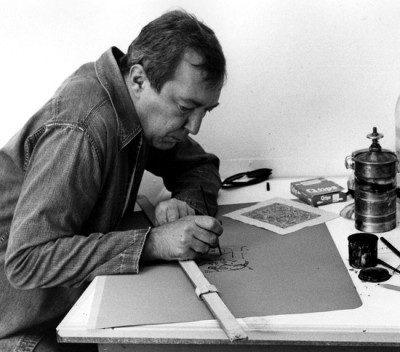 johnes at work on a desk in his studio